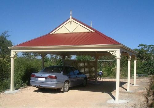 Timber frame freestanding dutch gable colorbond roof carport