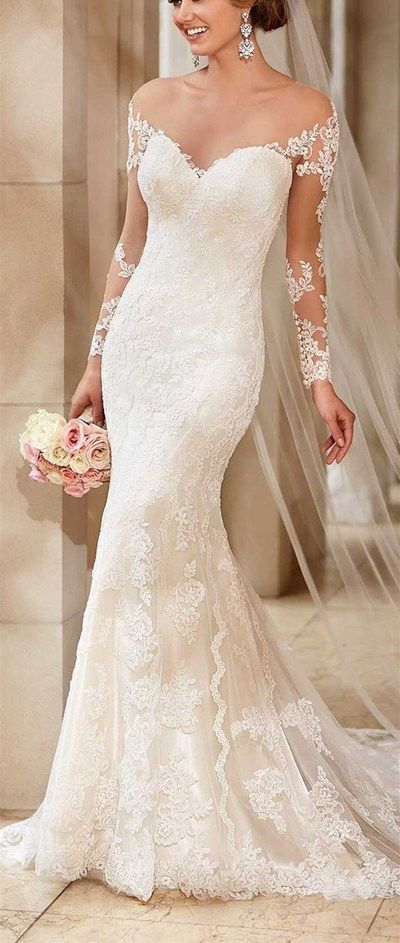 Lace Mermaid wedding dress,Off The Shoulder And Appliques wedding dress,See Through Wedding Dress,Long Wedding Dresses