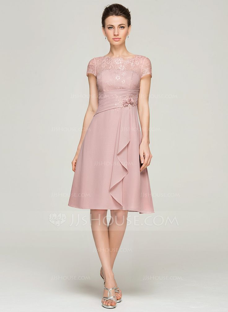 A-Line/Princess Scoop Neck Knee-Length Chiffon Lace Mother of the Bride Dress With Beading Flower(s) Sequins Cascading Ruffles (008062576) - JJsHouse