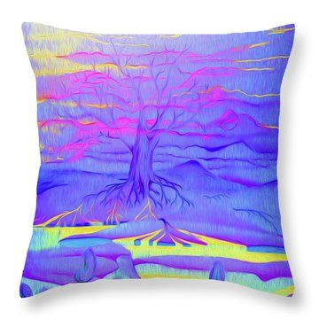 Tree Of Life - Fantasy Art Throw Pillow by Simon Mark Knott
