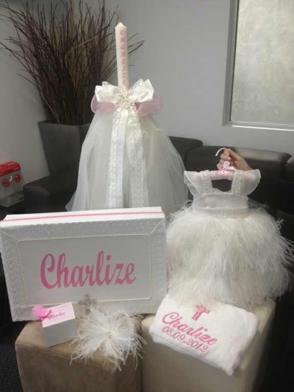 Love a matching christening theme!