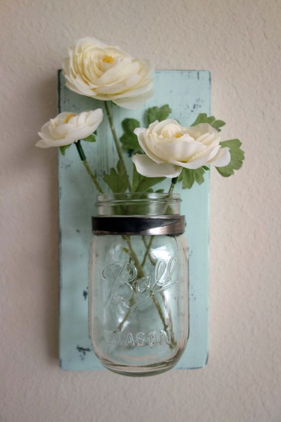 Mason Jar Wall Vase by WhiteKeyCottage on Etsy, $15.00