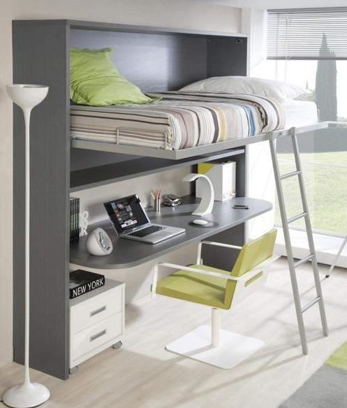 Habitaciones con poco espacio soluci n cama con - Cama con escritorio abajo ...