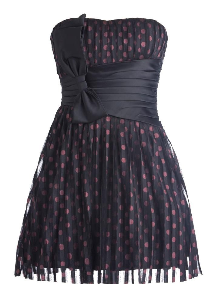 Confetti Couture Dress: Features an elegant design with subtle sweetheart neckline, pleated sheer chiffon shell with shiny pink polka dot print covering the entire base, wide asymmetrical satin waistband with an oversized bow pulled to the right, and a hopelessly romantic flared A-line silhouette to finish.: Pink Polka Dots, Polka Dots Prints, Sheer Chiffon, Asymmetrical Satin, Confetti Couture, Couture Dresses, Sweetheart Neckline, A Lin Silhouette, 50 Style Dresses