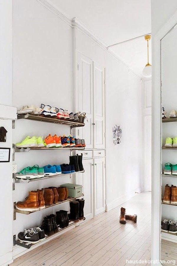 wall shelves as shoe storage