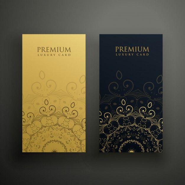 Карты премиум-мандалы в золотых и черных тонах Бесплатные векторы