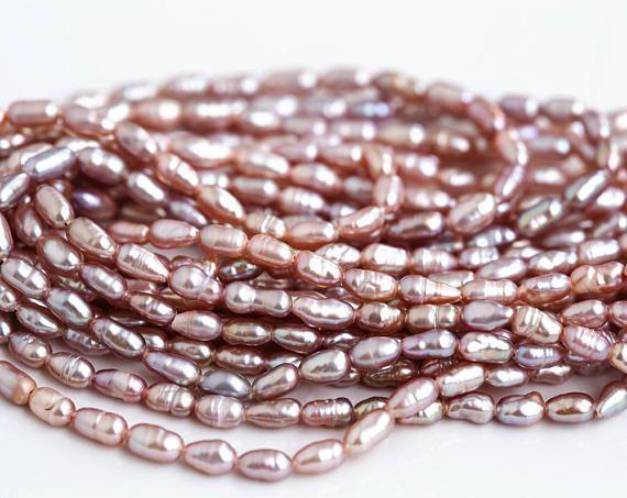 2873 Pink rice pearls 5 6 mm Ash rose pearls Natural