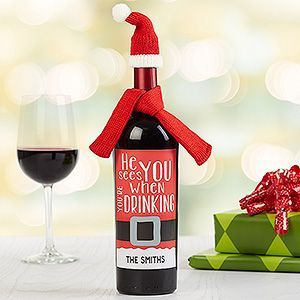 "HA! LOVE this funny Personalized Christmas Wine Bottle Label! You can personalize it with any name and put it on a bottle of wine as a decoration or as a great Christmas Gift! LOVE The ""He sees you when you're drinking"" line or you can also choose a ""'Tis the season to be tipsy"" design - too funny!"