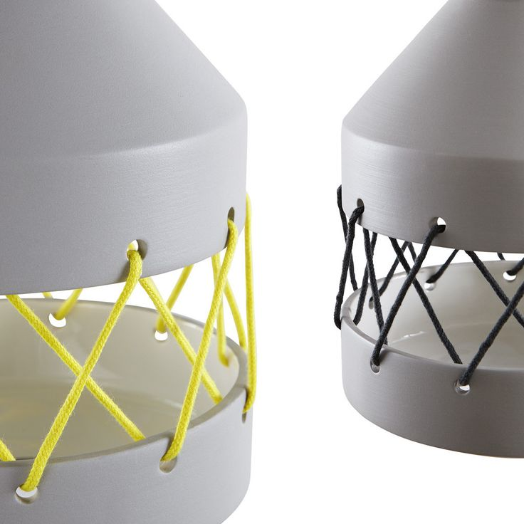 Yellow and anthracite coloured cotton ties details for mini Tie lamp.