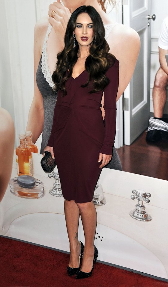burgundy on megan fox
