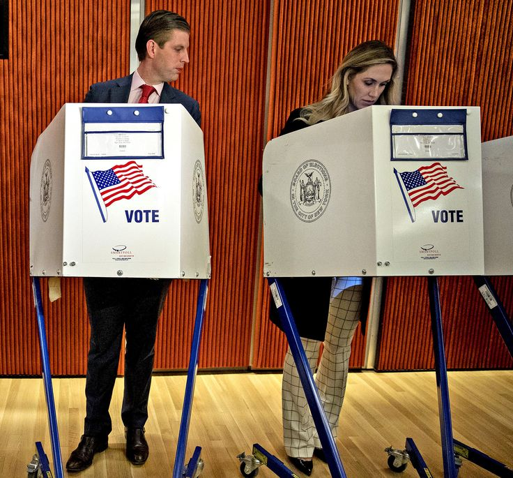 Donald and Eric Trump Couldn't Help But Check Out Their Wives' Ballots as They Voted in N.Y.C.