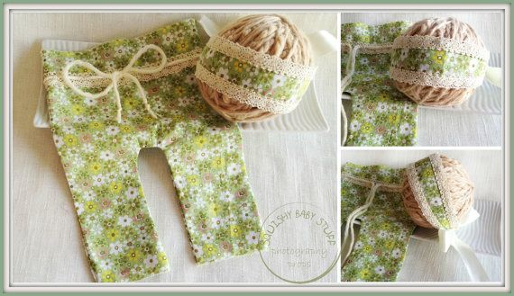 Newborn Photo Prop Newborn Headwrap and Pants by SquishyBabyStuff, $29.50