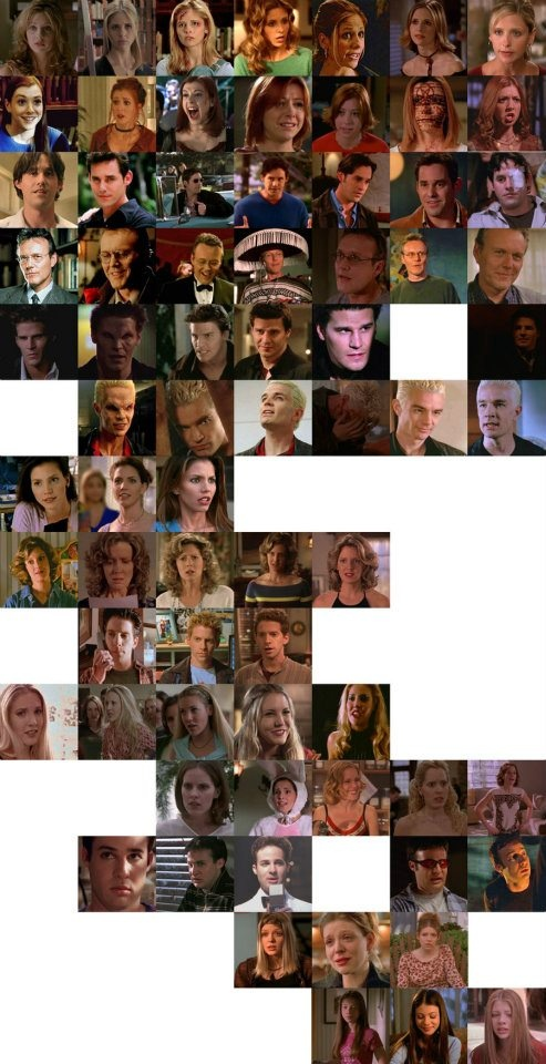 Buffy Regulars through the seasons.  Someone put together an AWESOME chart!  Except Joyce appeared in dreams in seasons 6 & 7, too.