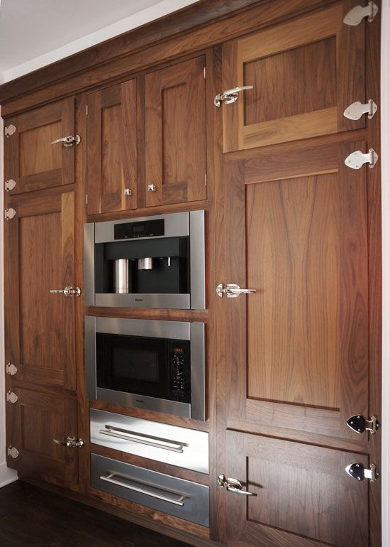 Ice box latches natural walnut cabinets kitchen cabinet for Cabinetry kitchen cabinets