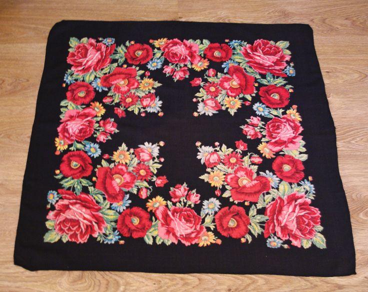 Vintage Black Polish Shawl / Russian Shawl / Ukrainian shawl / Floral square headscarf Roses / Neck scarf neckerchief Babushka kerchief USSR by VintagePolkaShop on Etsy