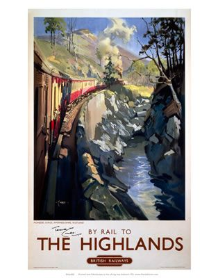 Rail to the Highlands #Vintage #Rail #Train #Poster #Print #Art #Vintage #Old #Classic #British #Britain #UK #Travel #Railway #Posters #Gifts #Products #Merchandise #Scotland #Scottish #Highlands #Highland #Scot