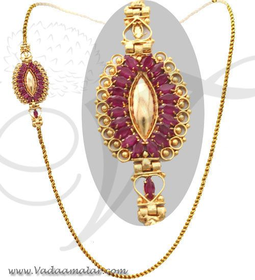 Traditional India Long Chain full ruby stone mugappu