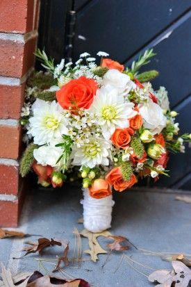 Orange and White Dahlia Rose Bouquet