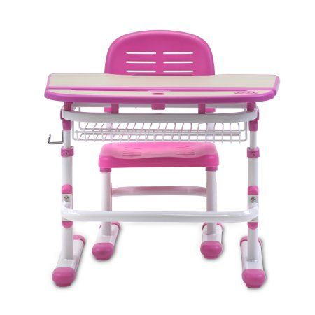 Mount-It! Children's Desk and Chair Set, Kids School Workstation, Height Adjustable With LED Study Lamp, Pink (MI-10101)