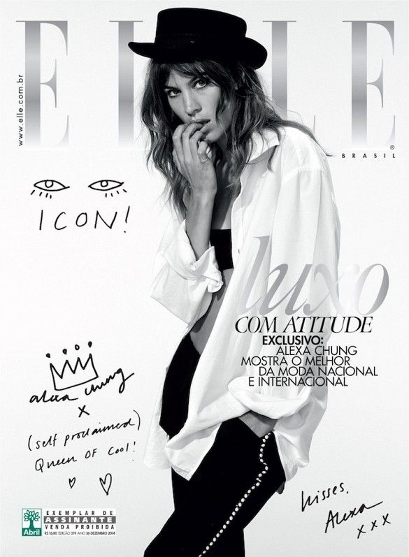 Alexa Chung on the cover of Elle Brazil in black and white // Photo by Nicole Heiniger