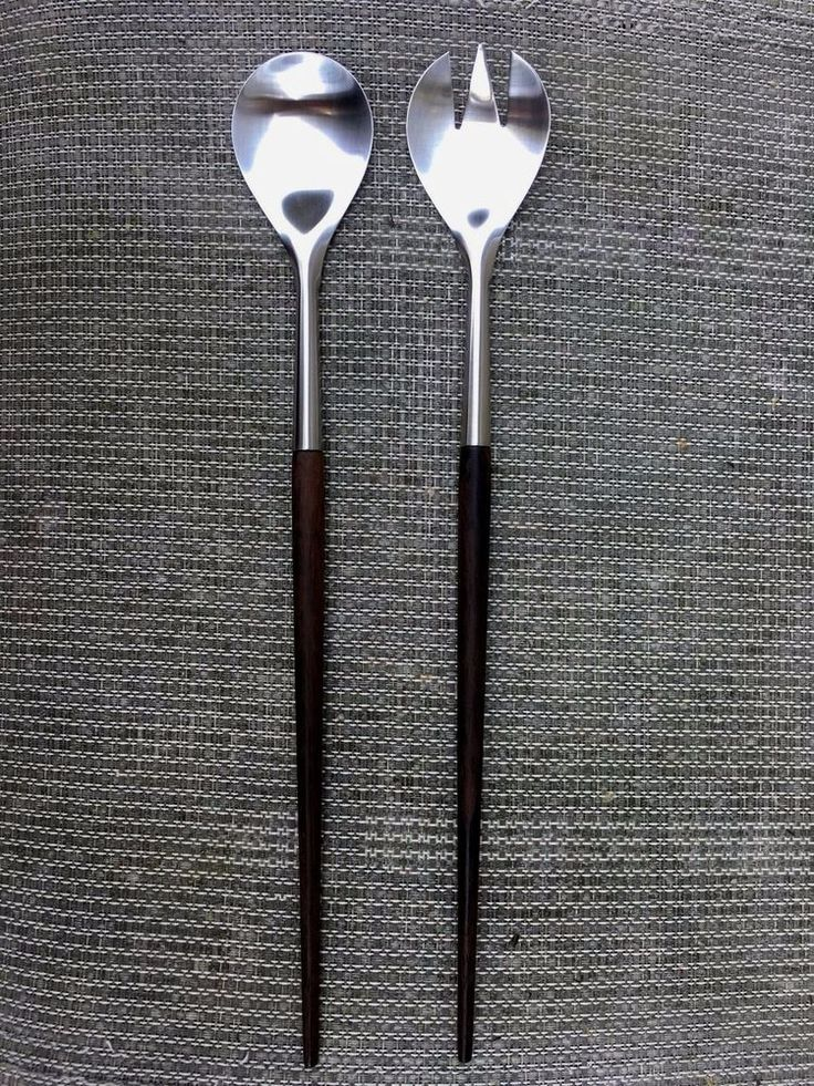 "VTG Mid Century SALAD SERVERS Fork Spoon Teak Wood Handles Stainless 14"" DENMARK #Markedbutunabletoidentify"