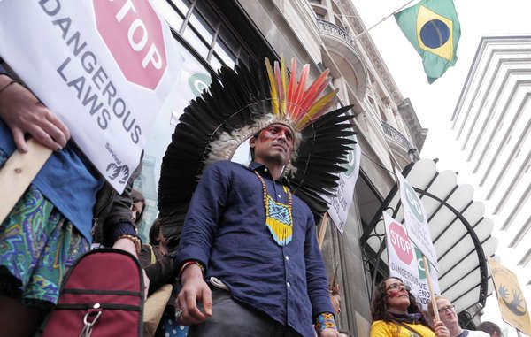 Vocal protests were held in London today against Brazil's assault on indigenous rights