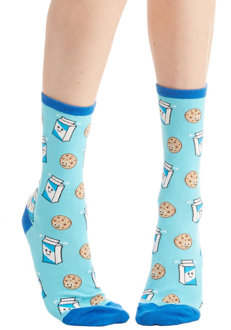 Snack Time and Again Socks. The next time youre craving something sweet, reach for these adorably printed socks! #blue #modcloth
