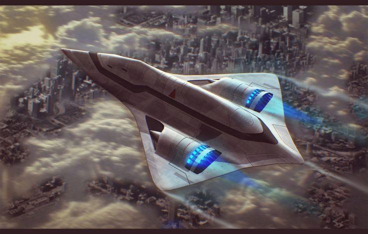 Sci-Fi Dropship Over City 3D Commission by AdamKop.deviantart.com on @deviantART