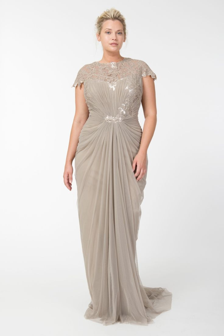 Tulle Draped Cap Sleeve Gown with Paillette Detail in Sand - Plus Size Evening Shop | Tadashi Shoji