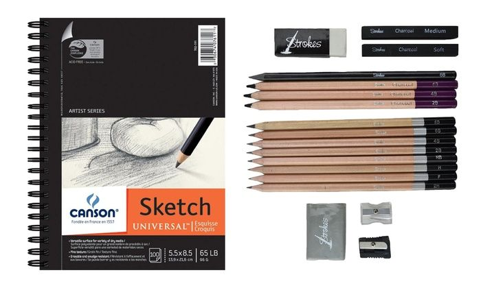 Canson Sketchbook and Professional Artist Pencil Set (18-Piece): Canson Sketchbook and Professional Artist Sketch-and-Draw Pencil Set (18-Piece)