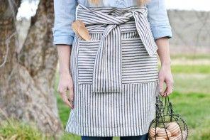 DIY French Stripe Half-Apron