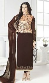 Karisma Kapoor Brown Color Georgette Churidar Suit #bollywoodindiandresses #bollywooddesignersuits2015 Add a zeal to your look like Karisma Kapoor with this brown color georgette churidar suit. The gorgeous lace and resham work a vital element of this attire. USD $ 89 (Around £ 61 & Euro 68)