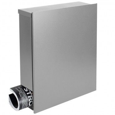 MOCAVI Box 116 Design-Briefkasten mit Zeitungsfach silber (weißaluminium RAL 9006) 38 x 45 cm Wandbriefkasten 12 Liter Postkasten – Bild 1
