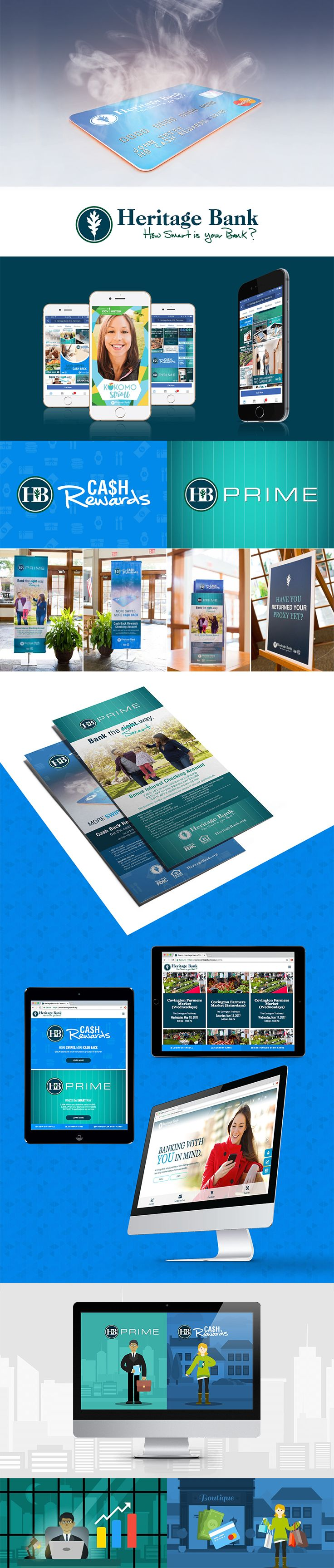 Heritage Bank brought us the challenge of refocusing their brand, updating their website, and connecting with their community. | Print Design | Banner Design | Social Media Design | Identity Branding | Responsive Web Design | Motion Design | Motion Graphics | Animation | Bank Website | Bank Design | Heritage Bank | Design Inspiration