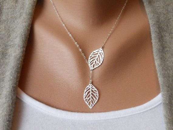 Leaf Lariat Petite by thelovelyraindrop on Etsy