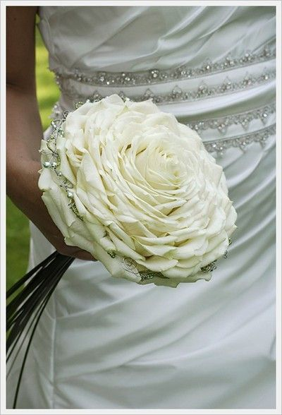 White and Gold Wedding Bouquet. Composite Petal or Glamelia Bouquet. Glamelia rose