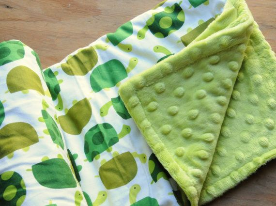 Turtle Baby Quilt Baby Blanket w/ Apple Green Bubble by Lolasitas, $35.00