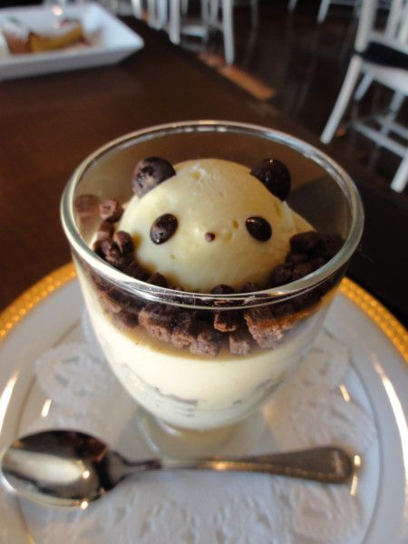 That gives you a cute ice cream panda!  I like that most of the cute foods I've found are representations of pandas. It consoles me somewhat about the fact that real pandas are too big for most cups.