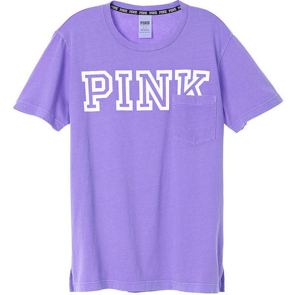 PINK Campus Short Sleeve Tee ($29) ❤ liked on Polyvore featuring tops, t-shirts, purple t shirt, pink top, pink tee, short sleeve tee and oversized t shirt