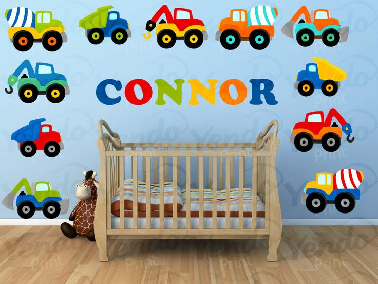 Baby Wall Decals SET - Personalized Truck Wall Decal - Kids Boys Girls Bedroom Room - Premium Quality Repositionable Decals door YendoPrint op Etsy https://www.etsy.com/nl/listing/173513768/baby-wall-decals-set-personalized-truck