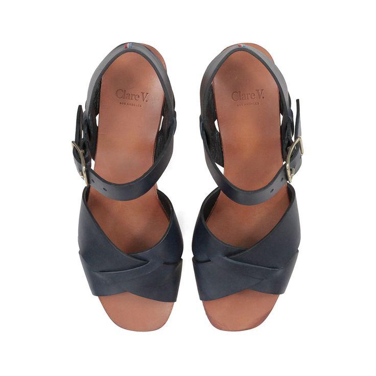 Heel Sandal - Navy Veg Leather – Clare V.