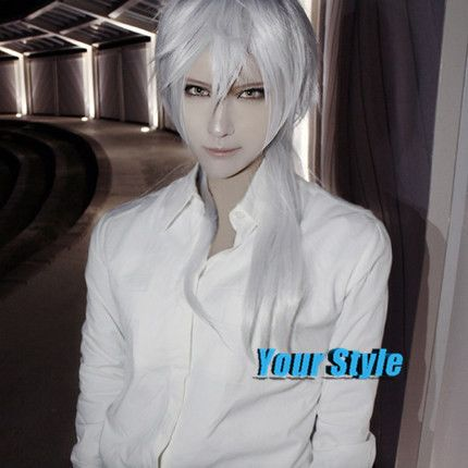 Japanese Psycho-Pass Makishima Yuusuke Wig Long Straight White Cosplay Wig Male Peruca Cosplay Perruque Homme Men