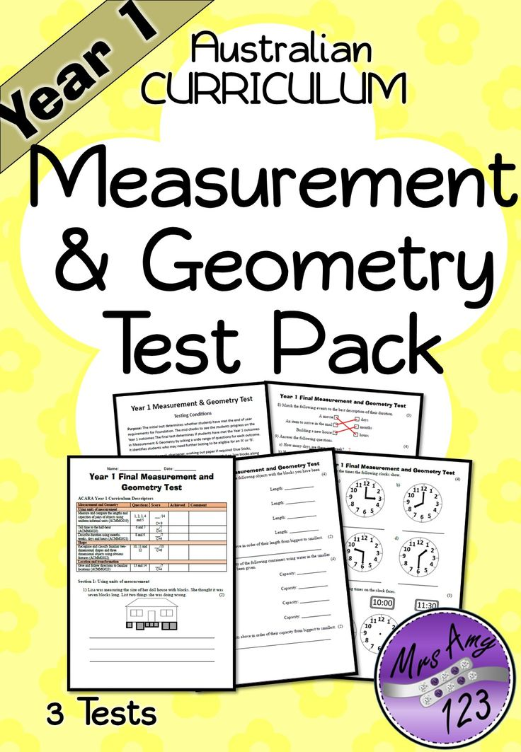 Year 1 Measurement and Geometry Test Pack