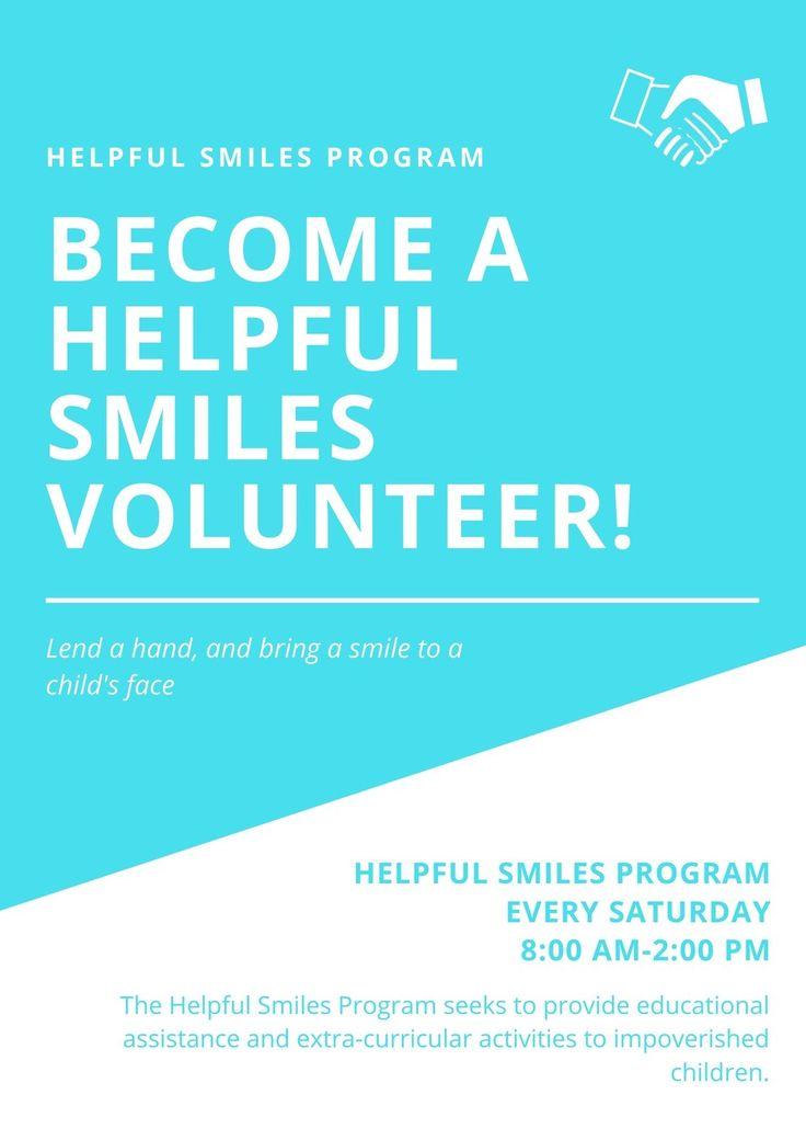 Blue white creative simple volunteer flyer templates