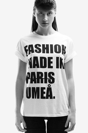 """Bold Print Tee, a dedication to Umeå. From """"OKKULT"""", the 2013 collection by SARA BURKHARD."""