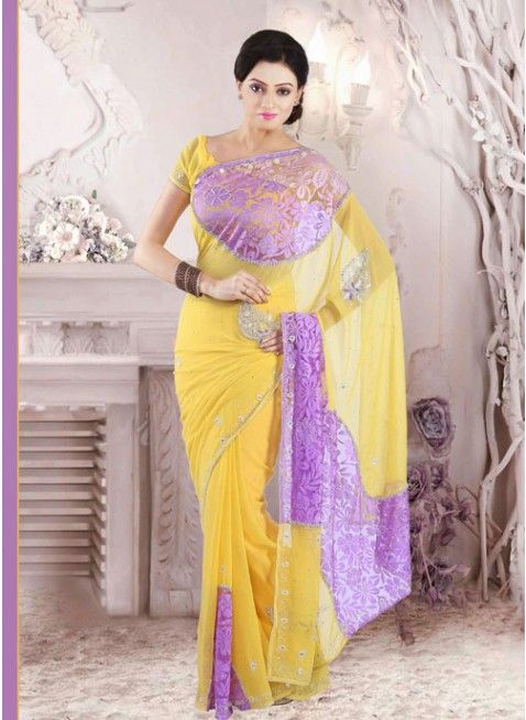 Beautiful Jonquil Yellow and Mauve Violet party_wear_saree