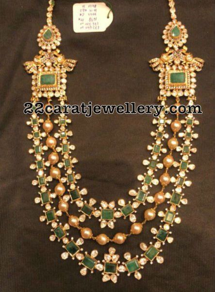 Emerald Set with Center Pearl String