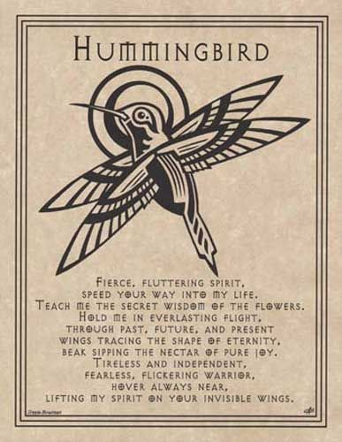 Spirit Totem Animals:  Hummingbird.