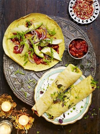 Jamie's chickpea flour pancakes are served with salad and chutney for a delicious light meal with punchy flavours of Indian spices and dried pomegranate.