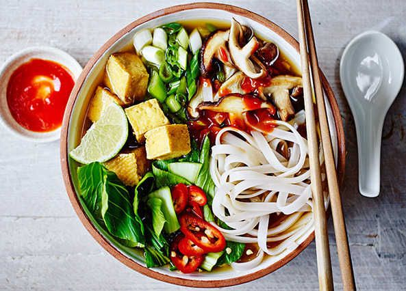 Rice noodles, pak choi, shiitake mushrooms and tofu in a broth flavoured with ginger, chilli, coriander, cinnamon, lime and soy